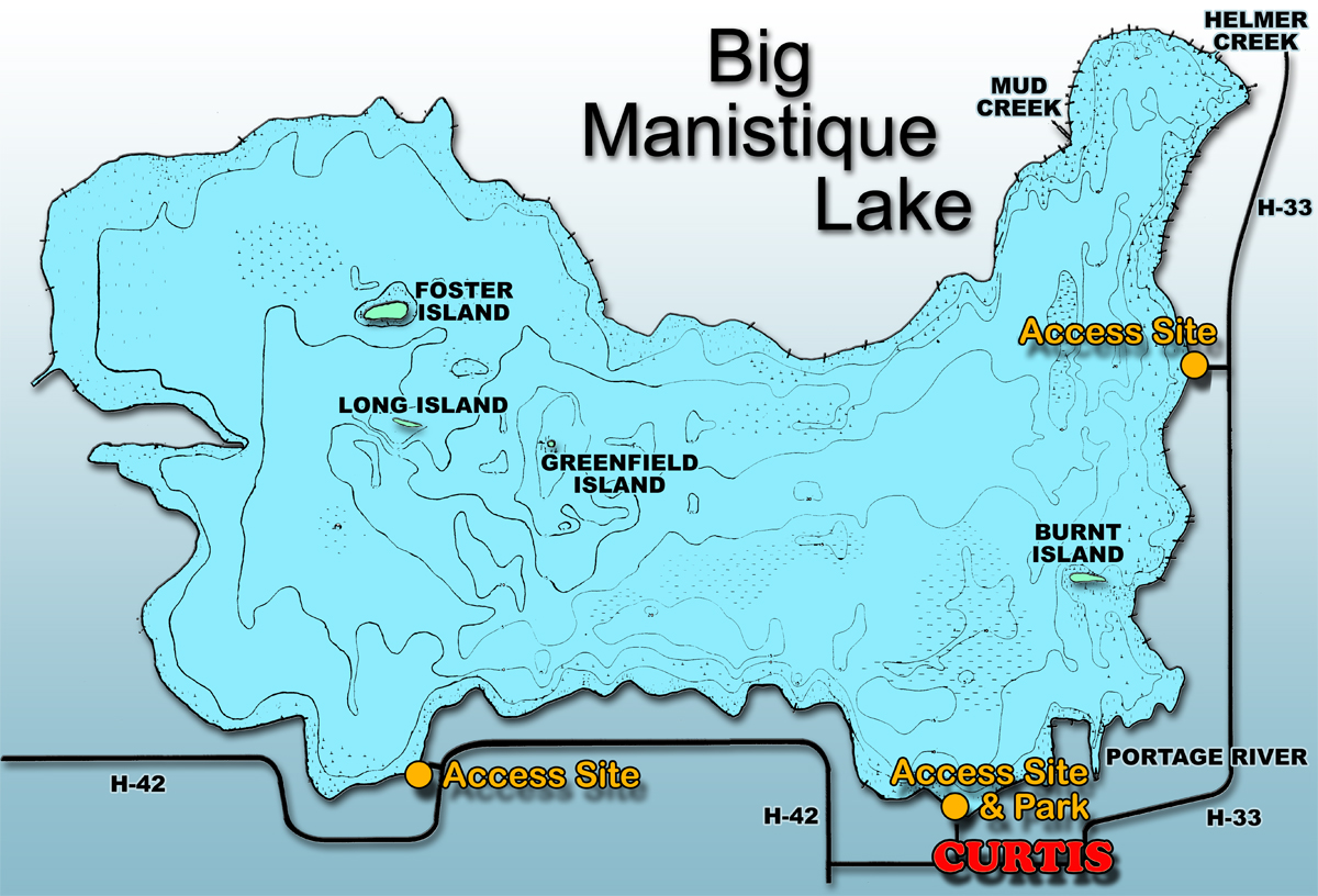 Curtis Michigan and the Manistique Lakes Area Maps